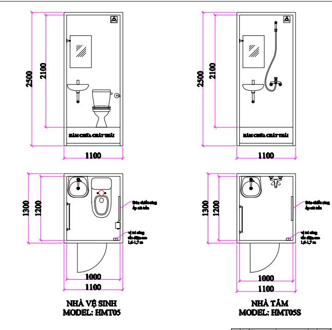 Nội thất và kích thước nhà vệ sinh di động HMT05